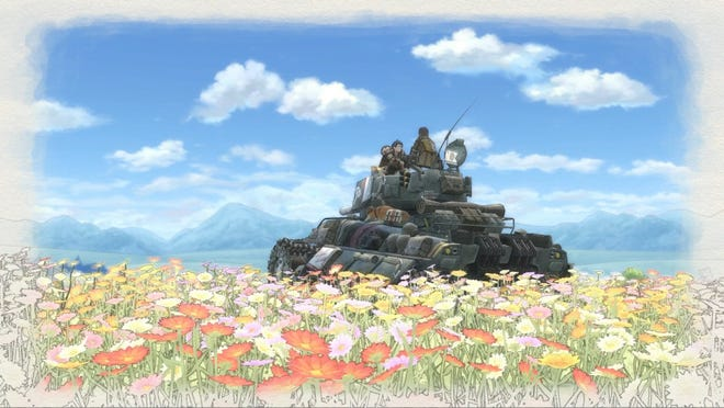 Raz and Kai share a moment at the flower fields of Milt in Valkyria Chronicles 4.