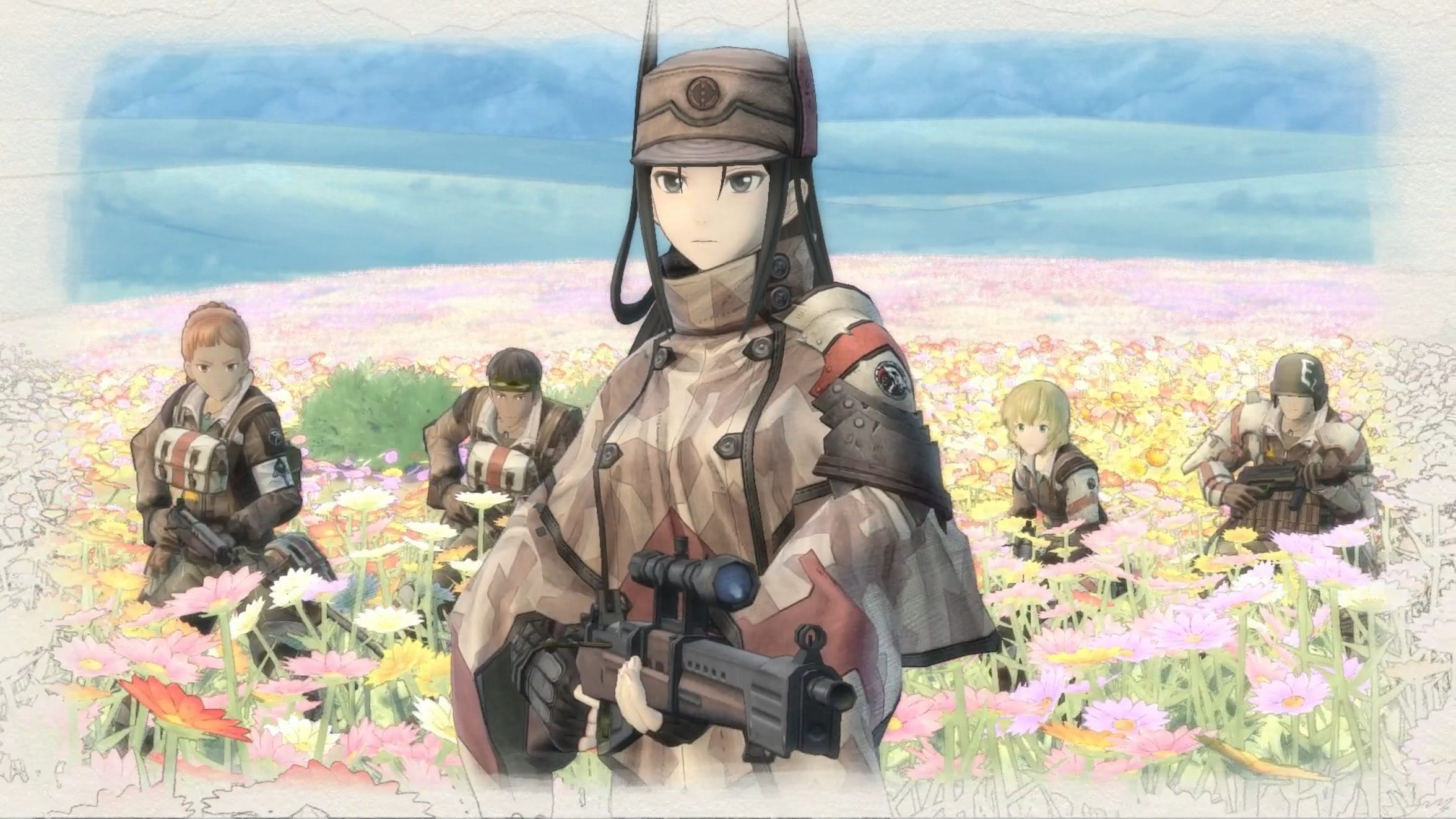 Kai and Squad E get ready to fight the Empire's soldiers at the flower fields of Milt in Valkyria Chronicles 4.