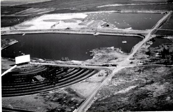 The El Rancho drive-in movie theater in Sparks is pictured in an aerial photo from 1957.