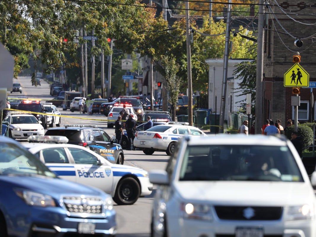 Massive police presence on Bay Street in Rochester.