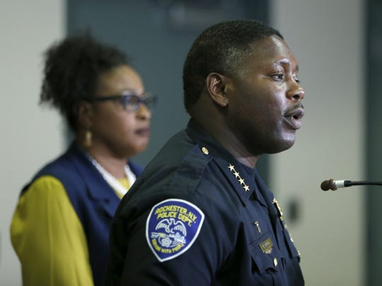 Acting Police Chief Mark Simmons speaks during a press conference regarding today's shootings and police high-speed pursuit at the Public Safety Building.