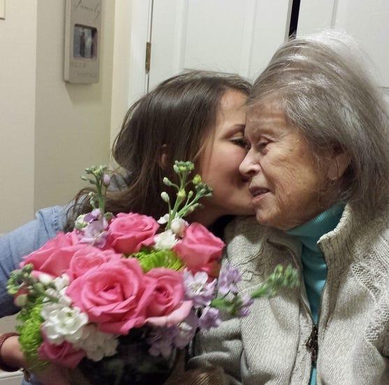Loretta Neuharth celebrates 90th birthday with 90th with her granddaughter in 2014 Dani Neuharth Keusch.