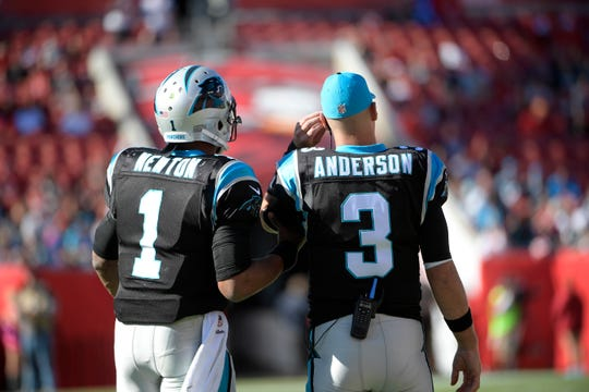 Carolina Panthers quarterback Cam Newton (1) and quarterback Derek Anderson (3) had a very successful working relationship. The Bills are hoping to replicate that in Buffalo with Anderson mentoring Josh Allen.