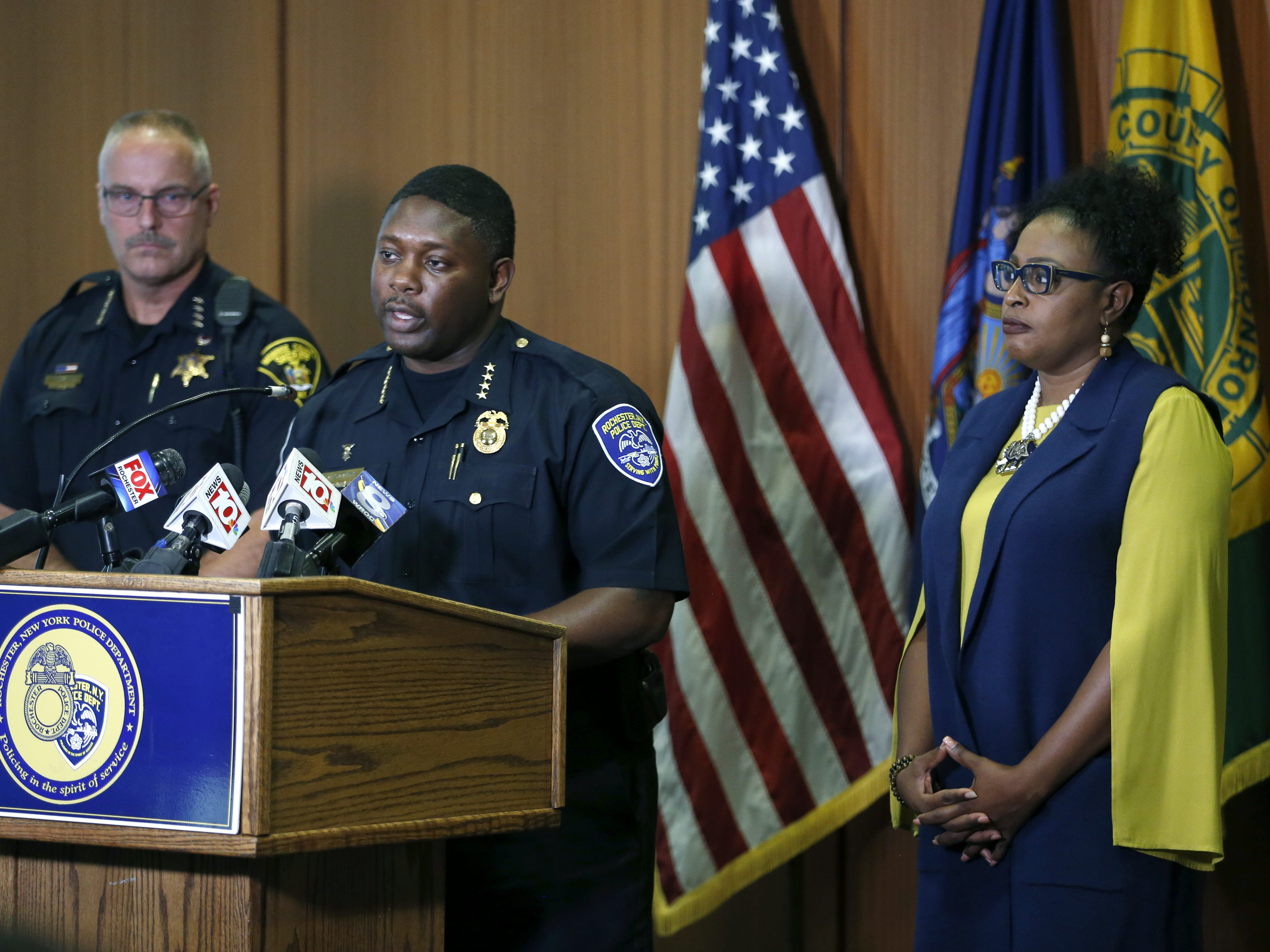 Monroe County Sheriff Todd Baxter, acting Police Chief Mark Simmons and Mayor Lovely Warren during a press conference regarding today's shootings and police high-speed pursuit.