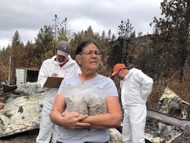 A team of archaeologists, trained dogs and volunteers combed Marci Fernandes' devastated property after the Carr Fire. They recovered the remains of her husband, Larry Allen, amid he ruins.