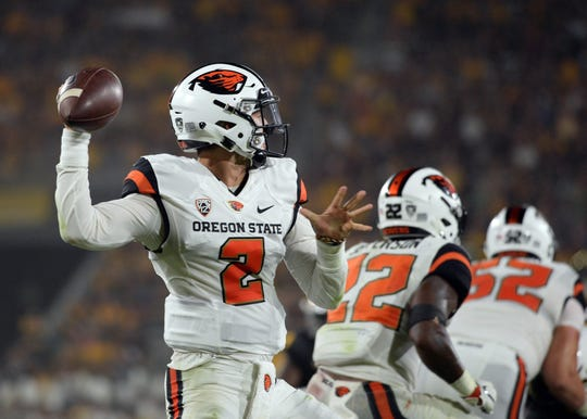 Sep 29, 2018; Tempe, AZ, USA; Oregon State quarterback Conor Blount (2) has thrown for 1,017 yards and seven touchdowns with one interception this season.