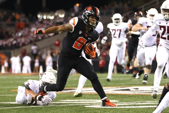 Oct 6, 2018; Corvallis, OR, USA; Oregon State wide receiver Trevon Bradford (8) leads the Beavers with four touchdown receptions.