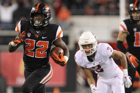 Oct 6, 2018; Corvallis, OR, USA;  Oregon State running back Jermar Jefferson (22) leads the Pac-12 and ranks fourth nationally in rushing.