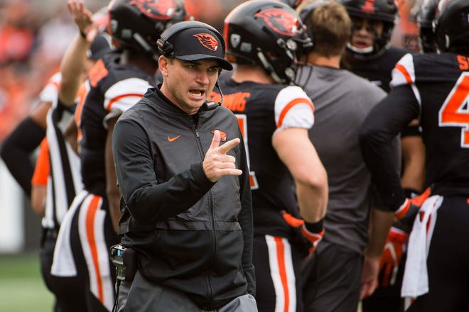 Sep 22, 2018; Corvallis, OR, USA; Oregon State first-year head coach Jonathan Smith has improved the Beavers' offense.
