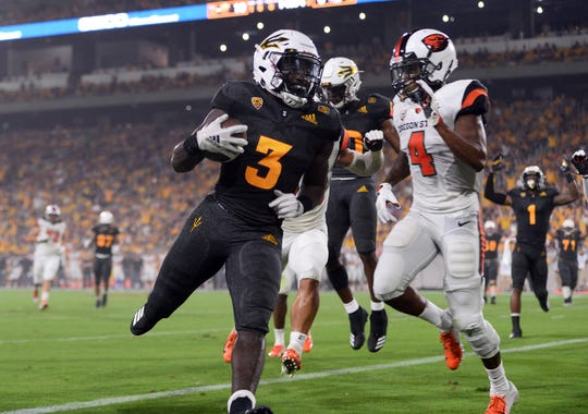 Sep 29, 2018; Tempe, AZ, USA; Arizona State running back Eno Benjamin (3) set a school record with 312 yards rushing in a 52-24 victory over Oregon State.