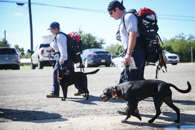 Texas Task Force 1 members set out to search for missing people after South Llano River flooding Wednesday, Oct. 10, 2018, in Junction.