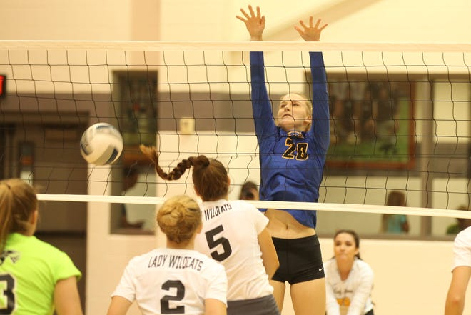 Veribest High School's Bella Halfmann blocks a shot by Water Valley's Baily Dawson during a District 7-2A volleyball match at the Water Valley on Tuesday, Oct. 9, 2018.