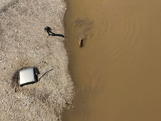 Search dogs and rescue workers found buried vehicles during the search for four missing people Wednesday, Oct. 10, 2018, in Junction, Texas. They appeared to have been covered in earth during flooding of the South Llano River caused by heavy rains this week.