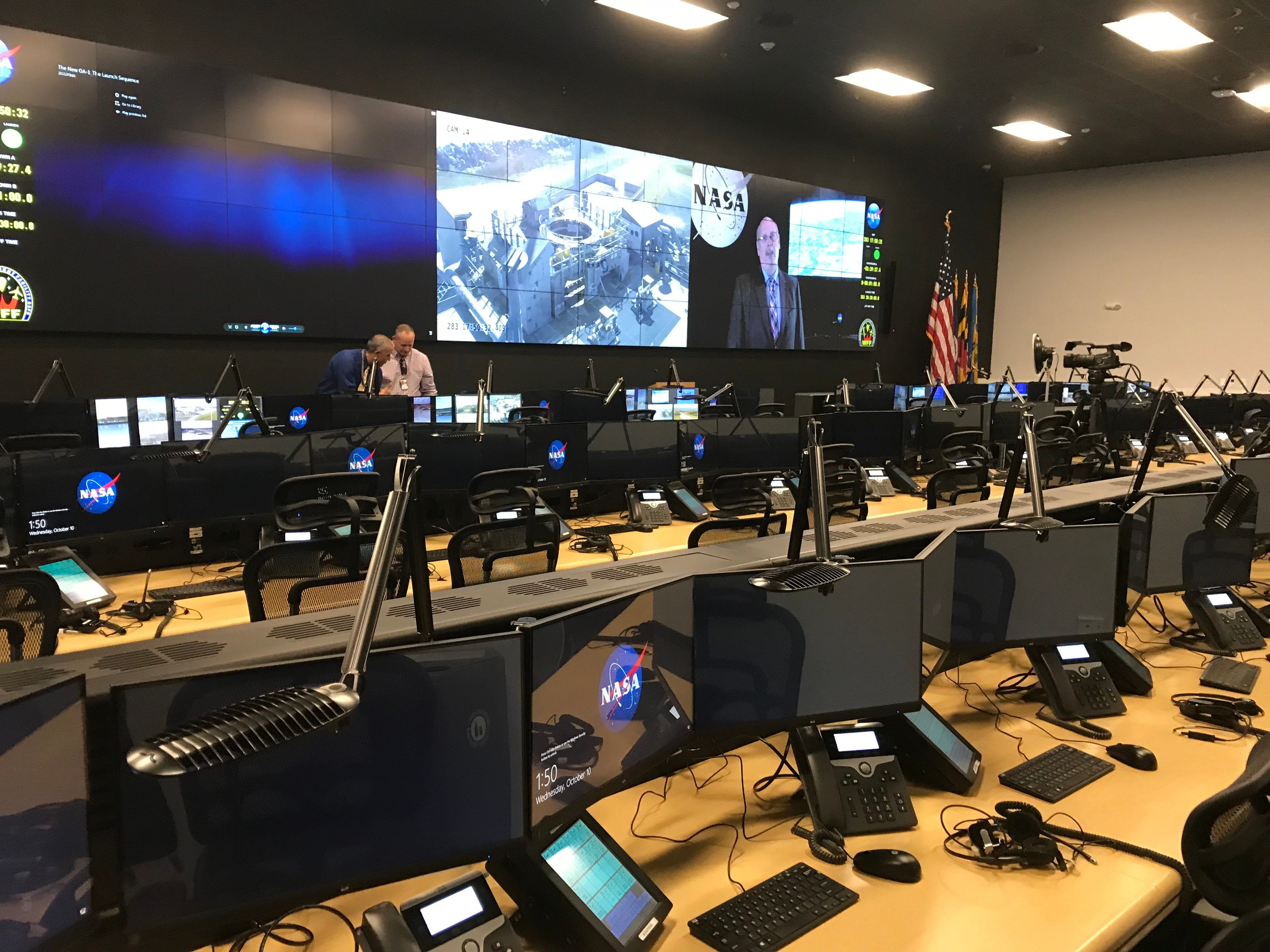 A view inside one of the command center's rooms.