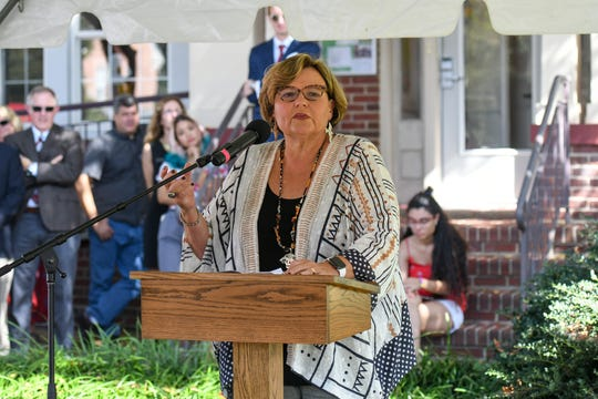 Former Salisbury University President Janet Dudley-Eshbach speaks at the renaming of the Center for International Education in her honor on Wednesday, Oct 10, 2018.