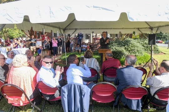 Salisbury University President Charles Wight speaks at the renaming of the Center for International Education in honor of former President Janet Dudley-Eshbach on Wednesday, Oct 10, 2018.