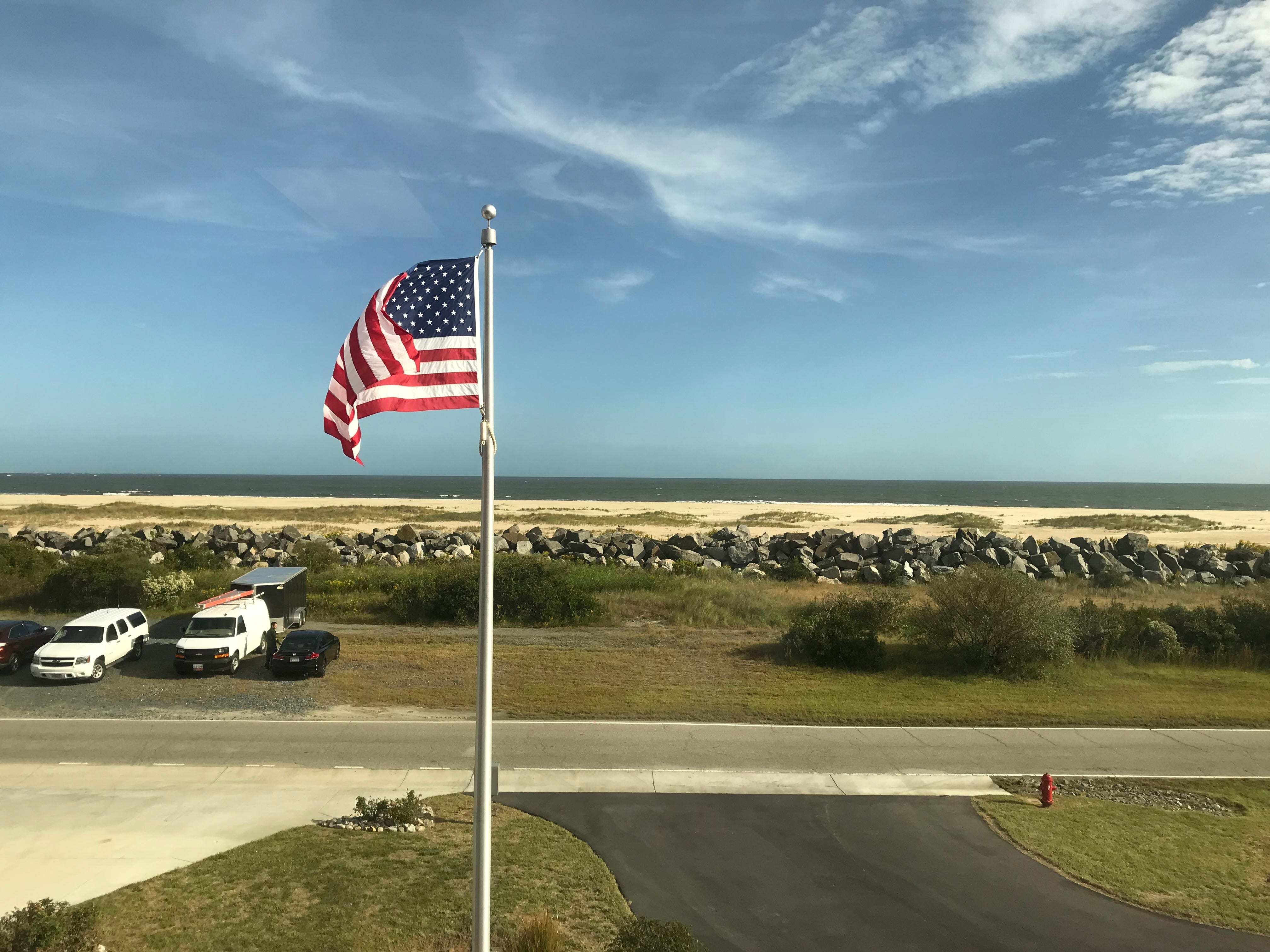 The new fire station at Wallops Flight Facility overlooks the island's beach.