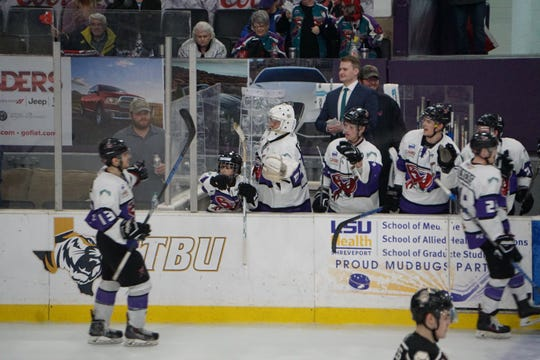 Shreveport Mudbugs assistant coach Casey Kirley (center) will be the man in charge Friday after head coach Jason Campbell was suspended.