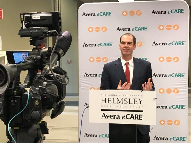 Walter Panzirer, a trustee of the Helmsley Charitable Trust, speaks about his organizations $7.8 million grant to Avera eCare to expand its mental health unit, at the eCare hub in Sioux Falls on Wednesday, Oct. 10.