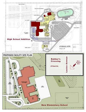 An artist rendering shows the facility plan for a new elementary school and an expansion to the Harrisburg High School if voters pass a $40 million bond Tuesday.