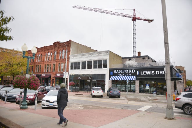 A massive crane soars over downtown Sioux Falls. The city was recently rated the No. 1 small city for business and careers.
