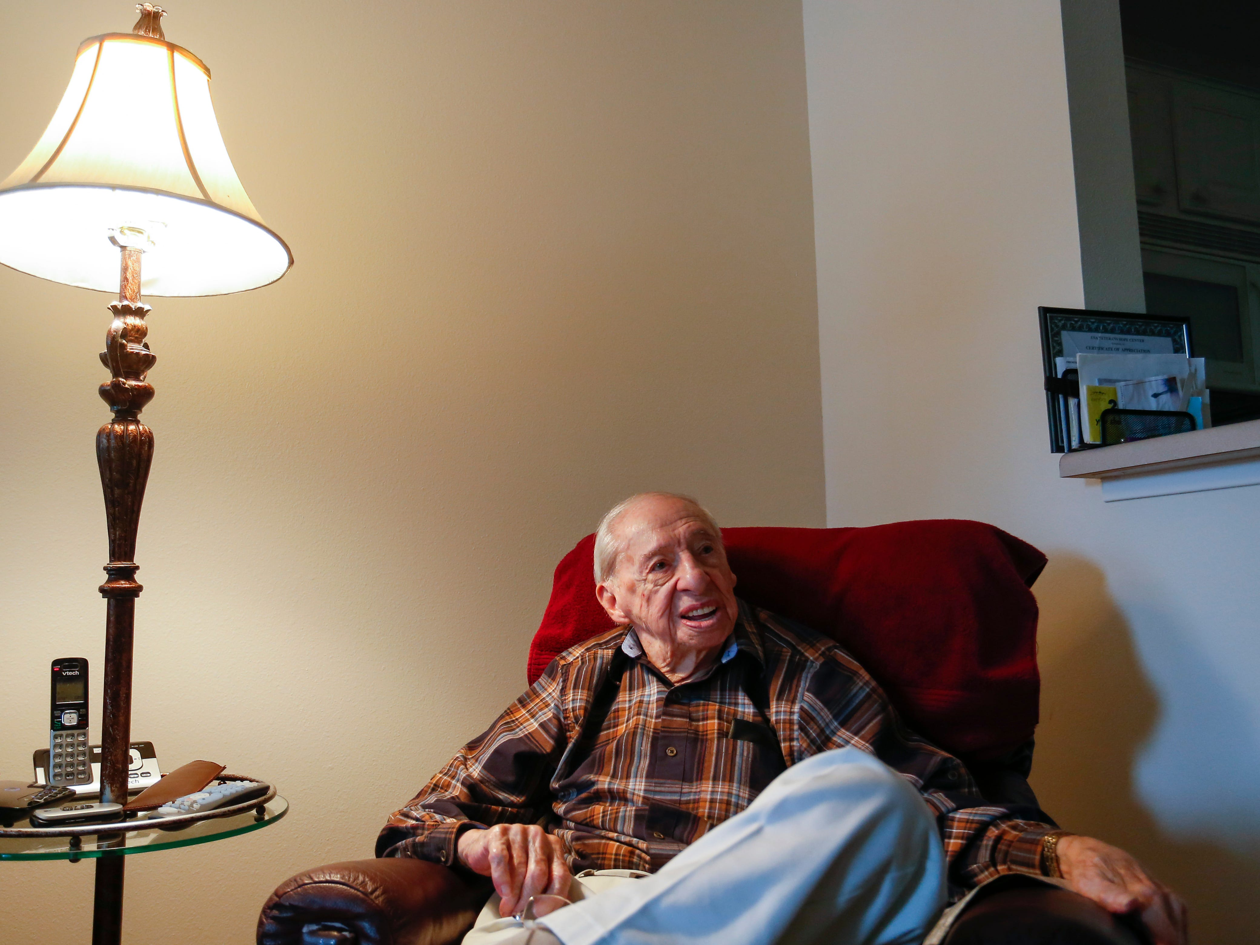 99-year-old Stephen Floyd talks about his time in WWII, bailing out of a B-17 that was shot down and being a prisoner of war at his home in Springfield on Wed. Oct. 9, 2018.