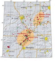USGS map shows earthquakes that have been measured along the New Madrid fault zone since 1972..