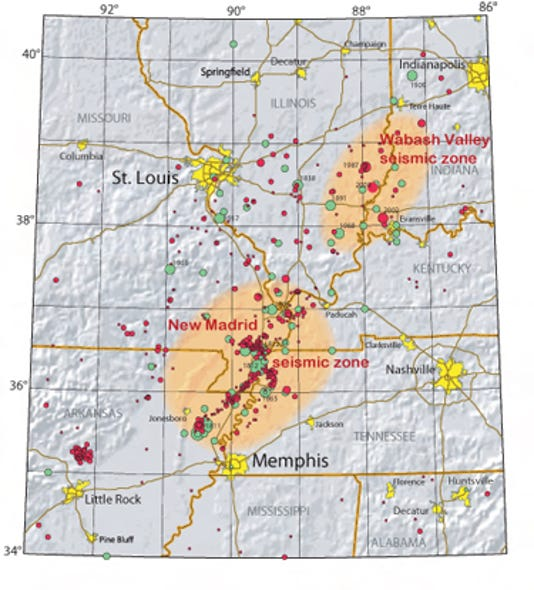 Fault Lines In Missouri Map.When The New Madrid Fault Unzips Will You Be Ready