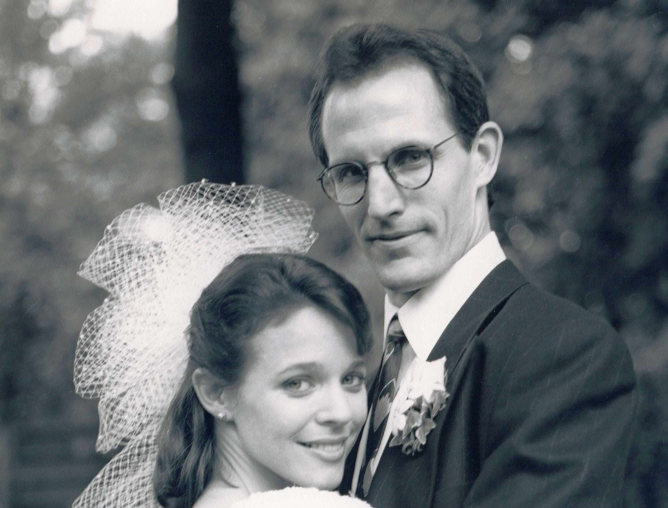 Kim Crosby and her husband, Robert Westenberg, on their wedding day.