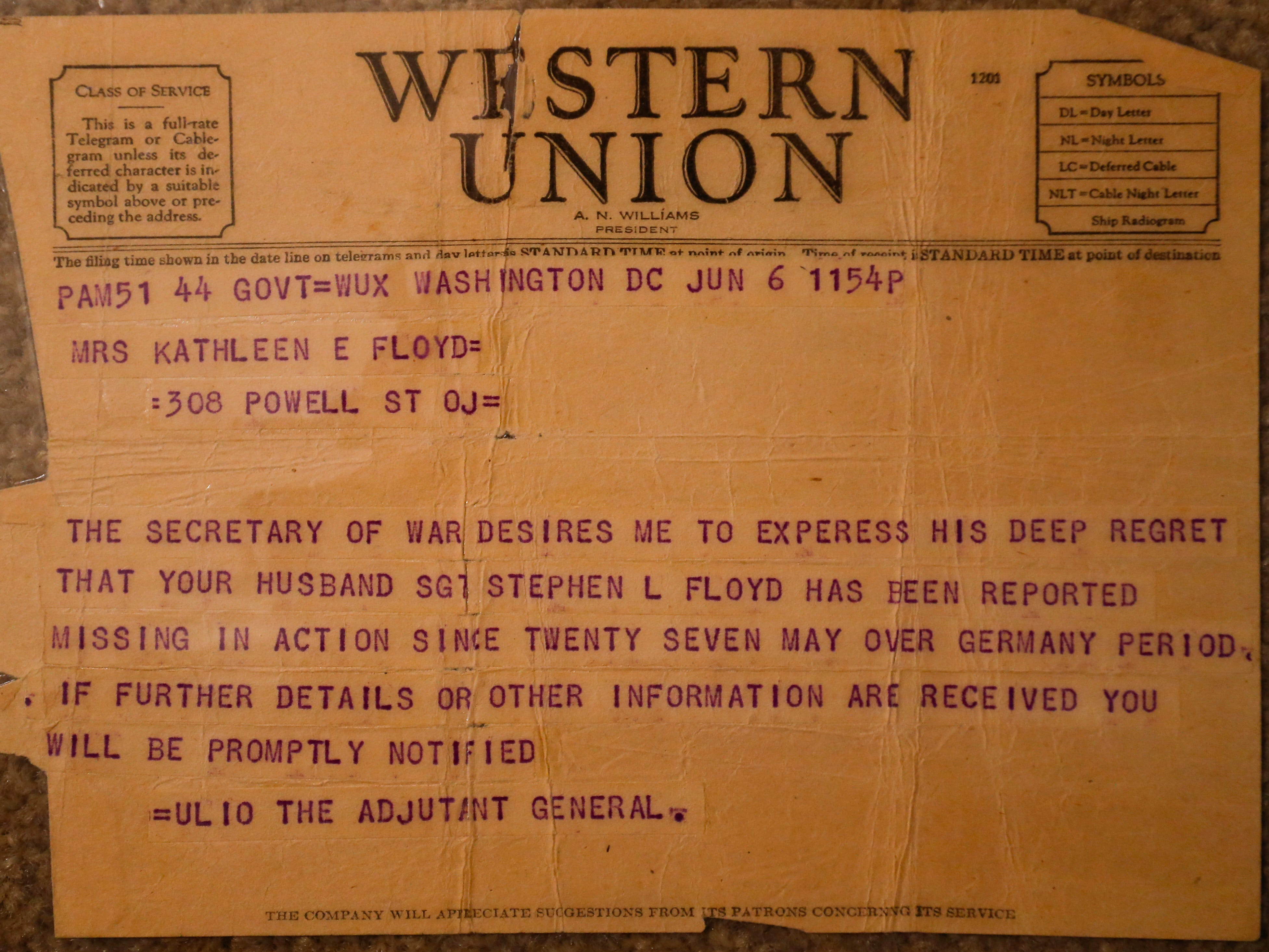 The Western Union telegram sent to Stephen Floyd's wife from the Army informing her that he was a missing in action.