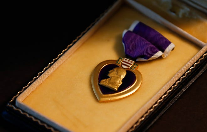 A Purple Heart is pictured.