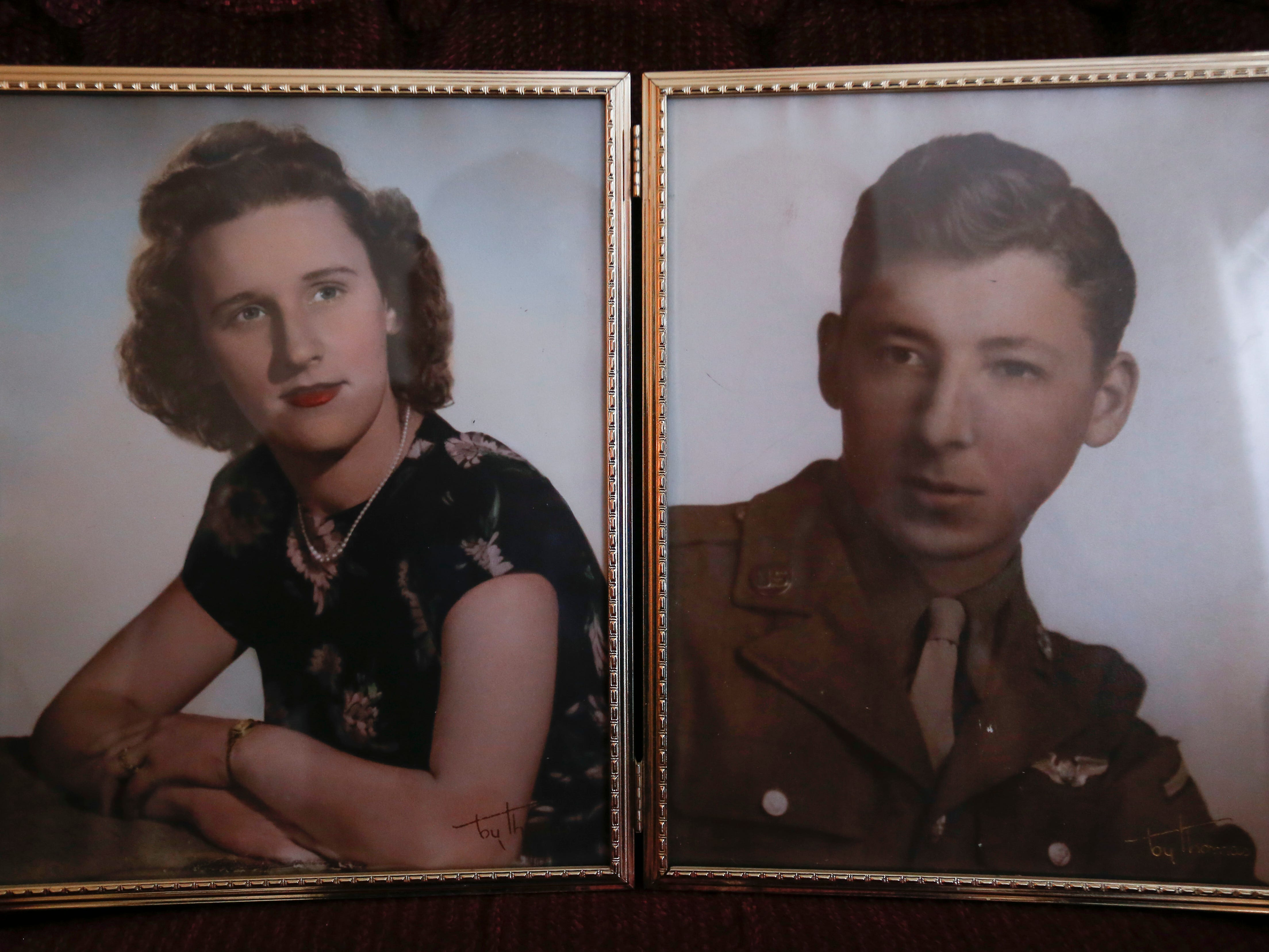 Photos of Stephen Floyd when he was 23 and his wife Kathleen from before he deployed for combat during WWII.