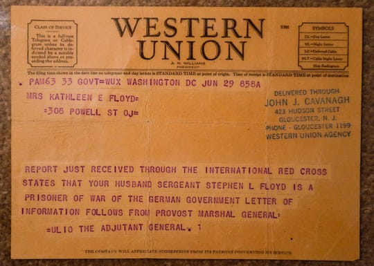 The Western Union telegram sent to Stephen Floyd's wife from the Army informing her that he was a prisoner of war.