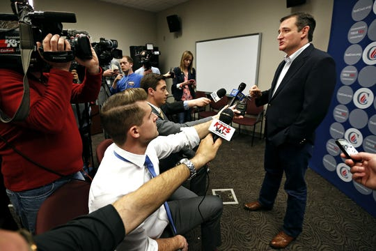 Republican presidential candidate Ted Cruz, R-Texas, speaks to press prior to the start of a campaign rally at the Robert H. Spence Chapel at the Evangel University campus in Springfield, Mo. on March 12, 2016.