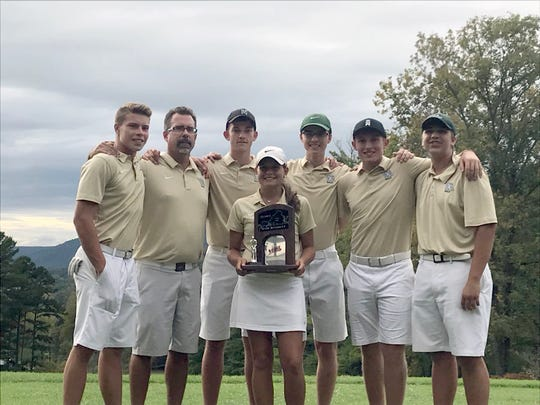 Wilson Memorial's golf team poses with the trophy it received for placing second a the VHSL Class 2 state tourney on Tuesday, Oct. 9, 2018, at Lonesome Pine Country Club in Big Stone Gap, Va. Patrick Smith, third from left, finished tied for fourth to earn all-state honors.