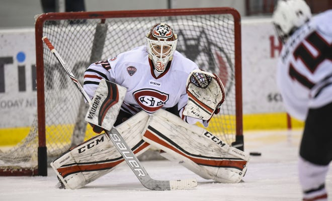 St. Cloud State goaltender David Hrenak warms up before the start of a playoff game on March 11 at the Herb Brooks National Hockey Center. Hrenak, a sophomore, was 14-7-2 and was in the top 15 nationally in goals-against average (2.11) and save percentage (.919) last season.