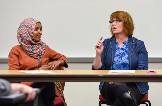 Ilhan Omar, State Rep. and DFL-endorsed candidate for congress, and Erin Murphy, State Rep. and DFL-endorsed candidate for Minnesota Governor, discuss the rise of anti-Muslim sentiment in Minnesota politics Tuesday, Oct. 9, in Brown Hall at St. Cloud State University.