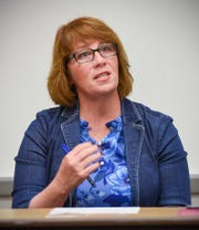 Erin Murphy, State Rep. and DFL-endorsed candidate for Minnesota Governor, discusses the rise of anti-Muslim sentiment in Minnesota politics Tuesday, Oct. 9, in Brown Hall at St. Cloud State University.