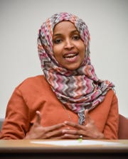Ilhan Omar, State Rep. and DFL-endorsed candidate for congress, discusses the rise of anti-Muslim sentiment in Minnesota politics Tuesday, Oct. 9, in Brown Hall at St. Cloud State University.