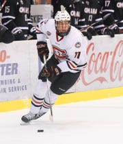St. Cloud State's Ryan Poehling skates with the puck against Nebraska-Omaha on Feb. 3 at the Herb Brooks National Hockey Center. Poehling, a junior and first-round draft pick of the Montreal Canadiens, had 14 goals and 31 points in 36 games last season.