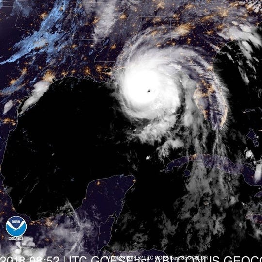 Hurricane Michael in the Gulf of Mexico approaches the Florida panhandle the morning of Oct. 10, 2018, the day it made landfall as a Category 5 storm.