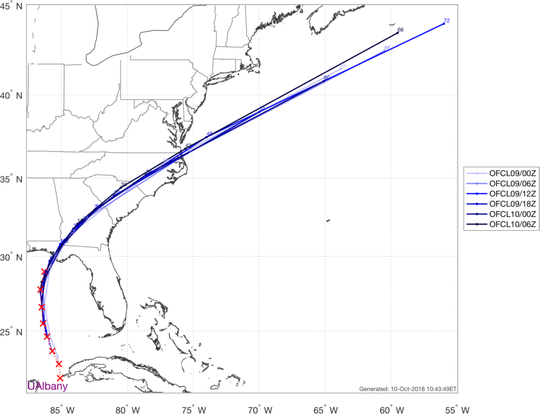 Here's how Michael is tracking compared to the last 6 NHC forecasts.