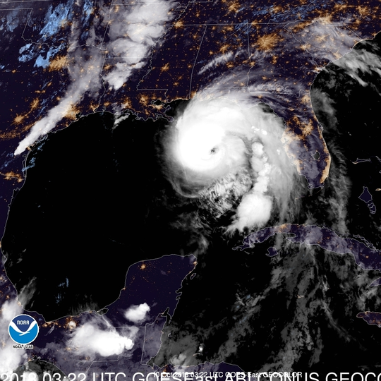 Hurricane Michael in the Gulf of Mexico approaches the Florida panhandle during the week of Oct. 7, 2018