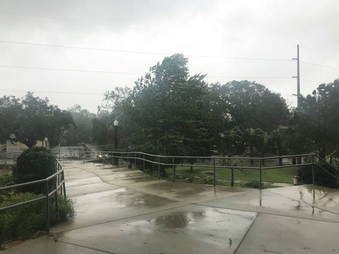 Strong wind and rain from Hurricane Michael outside the Hansel E. Tookes, Sr. Student Recreation Center.