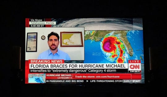 Ryan Truchelut of WeatherTiger on CNN Oct. 10, 2018 discussing Hurricane Michael.