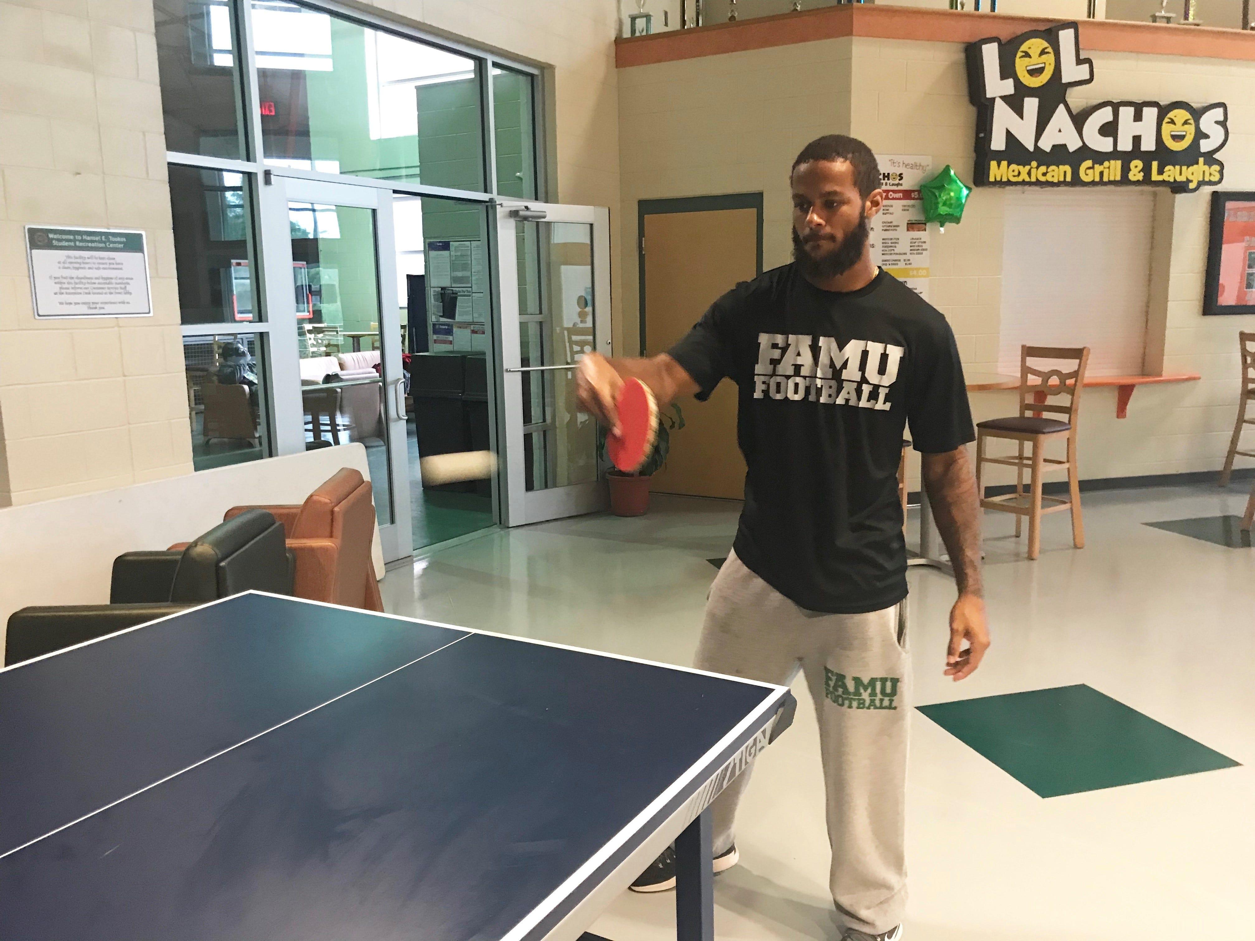 FAMU linebacker Elijah Richardson transfers his football skills to ping pong.