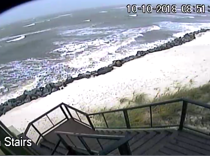 Camera at my beach house.  Rock wall is 7' above mean high tide. So far so good but it's low tide.