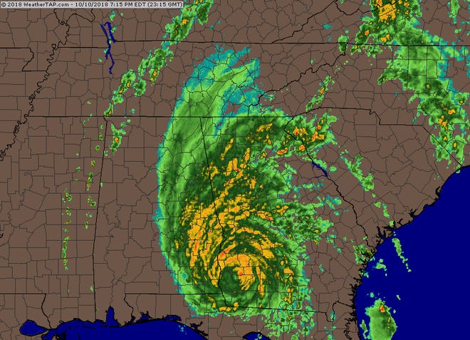 Hurricane Michael is now moving away from Tallahassee, up through Georgia.