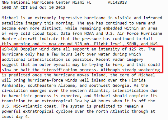 NHC 11 a.m. discussion