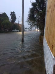 Apalachicola flooding prior to Hurricane Michael making landfall as a Category 4 storm.